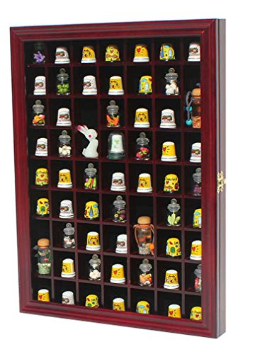 59 Thimble/Miniature Display Case Holder Cabinet Shadow Box, Solid Wood, Felt Interior Background-TC01-CH