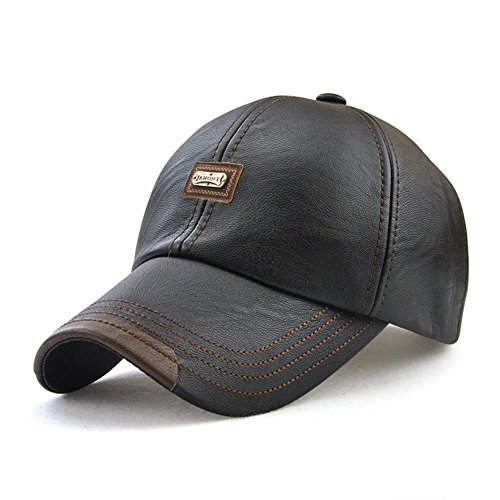 Dovee Men's Classic Leather Baseball Cap Winter Warm Vintage Outdoor Sports Hats Adjustable Driving Sun Hat (Black)