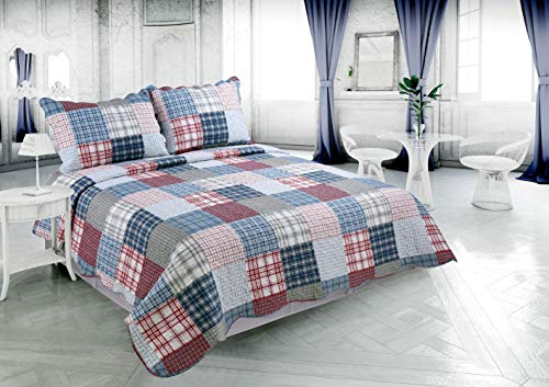 Beauty Sleep Bedding Rich Printed 3 Pieces Luxury Quilt Set with 2 Quilted Shams, Multi Colors Plaid, Blue, Red, Gray and White Color, Queen Size