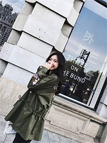 Manga Grün Cremallera Moda Chaquetas Larga De Cordón Abrigos Exteriores con Bordados Prendas con Otoño Modernas Outwear Mujer Elegante Solapa wg6qBSY1