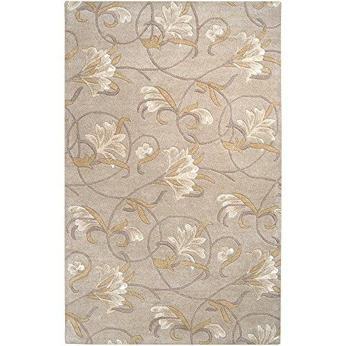 Surya Goa G-44 Transitional Hand Tufted 100% New Zealand Wool Doe Skin 5' x 8' Floral Area Rug