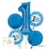 Andaz Press Balloon Bouquet Party Kit with Gold Cards & Gifts Sign, Bouquet Baby Boy 1st Year Birthday1st Year Blue, 1-Set