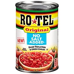 Ro*Tel Original No Salt Added Diced Tomatoes & Green Chilies 10oz Can (Pack of 12)