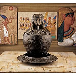 Design Toscano ImSety Iron Canopic Jar on Ritual Plate (Set of 2)