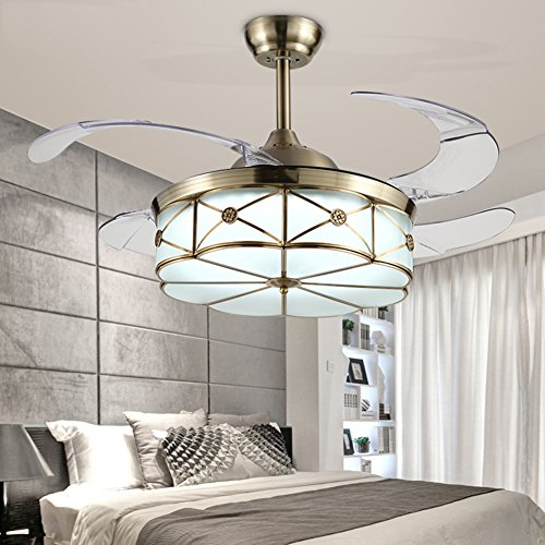 Foldable Blades (Yue Jia 36 Inch Promoting Natural Ventilation Bronze Invisible Fan Vintage Style Dimmable (Warm/Daylight/Cool White) Chandelier Foldable Ceiling Fans With Lights Ceiling Fans with Remote Control)