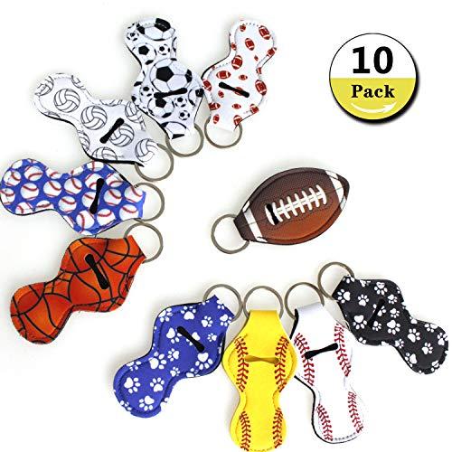 Lipstick Holder Keychain Chapstick Key Chain Holder, Lip Blam Keychain Sport Series Lipstick Holders(10 Pack)