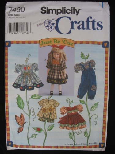 """Simplicity 7490 """"Just Be 'Cuz"""" 18"""" Doll Clothes Pattern"""