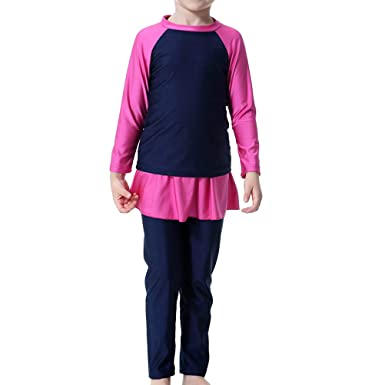 0a59dac791 Image Unavailable. Image not available for. Color: 1 Pc Muslim Hui Girls  Swimsuit Long-Sleeved Stitching Conservative Split ...