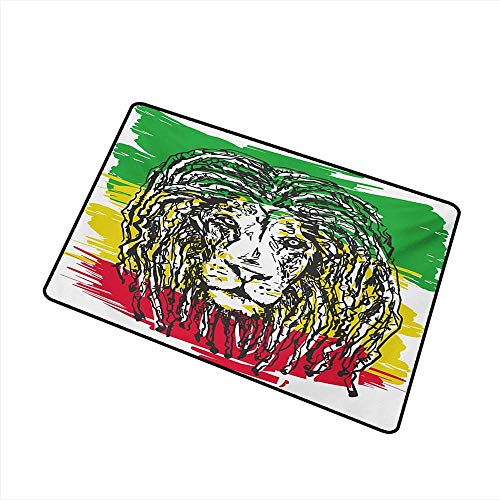 Outdoor Door mat Rasta Ethiopian African Culture Hair Style Lion Head Portrait Grunge Backdrop W31 xL47 with Anti-Slip Support ()