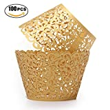 Gold Cupcake Wrappers 100pcs/pack Lace Cupcake Liners Laser cut Cupcake Papers cupcake cups Muffin cups for Wedding/Birthday Party Decoration