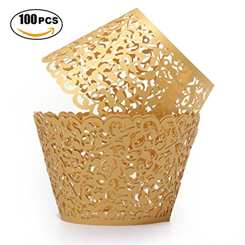 Gold Cupcake Wrappers 100pcs/pack Lace Cupcake Liners Laser cut Cupcake Papers cupcake cups Muffin cups for Wedding/Birthday Party Decoration by KASU