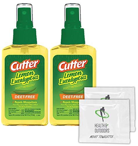 Cutter Lemon Bug Repellent Pump Spray (4 OZ) 2 Count + (2) Bonus Wipes