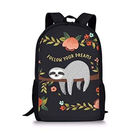 a45a60ce02a8 Coloranimal School Students Big Shoulder Backpack Funny Animal Sloth Floral  Pattern Book Bags for Children Girls Boys Teenagers