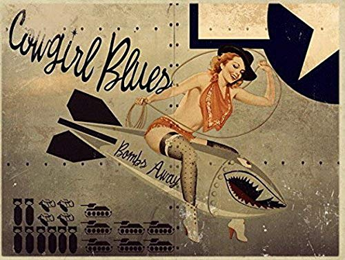 Ugtell Funny Wall Decor Cowgirl Blues Metal Sign, WWII Airplane Nose Art, Pinup Girl, Vintage Décor Vintage Style