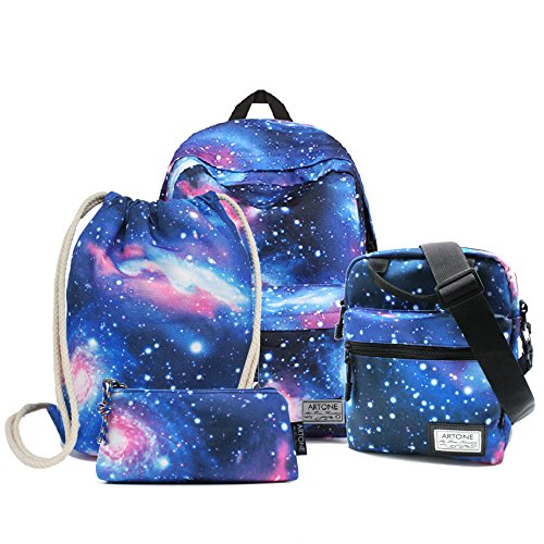 Artone Blue Universe Casual Daypack with Galaxy Pencil Case Crossbody Bag and Drawstring Bag Set by Artone