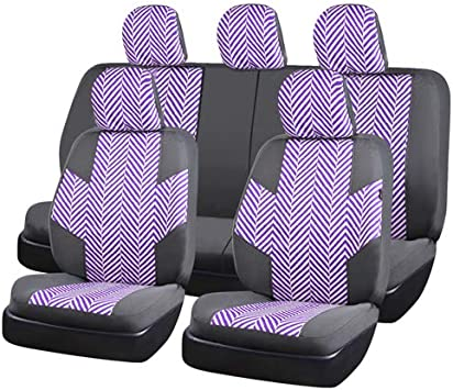 CAR PASS Universal FIT Piping Leather Car Seat Cover 6PCS, Black and Blue for suvs,Van,Trucks,Airbag Compatible,Reserved Opening Holes for headrest Covers LJ