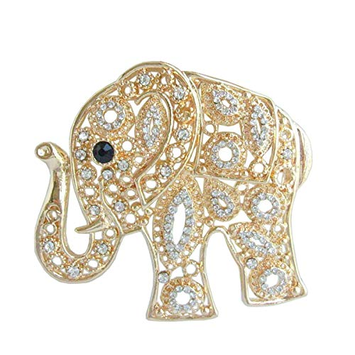 Sindary Unique Animal Elephant Brooch Pin Pendant Rhinestone Crystal BZ5102 (Gold-Tone ()