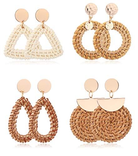 LOLIAS 4 Pairs Woven Rattan Earrings for Women Handmade Boho Straw Wicker Braid Drop Dangle Earrings Lightweight Geometric Statement Earrings