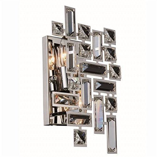 """Elegant Lighting 2100W12C/RC Picasso Collection Wall Sconce W8"""" H12"""" E3.5"""" 2-Light, Clear from Elegant Lighting"""