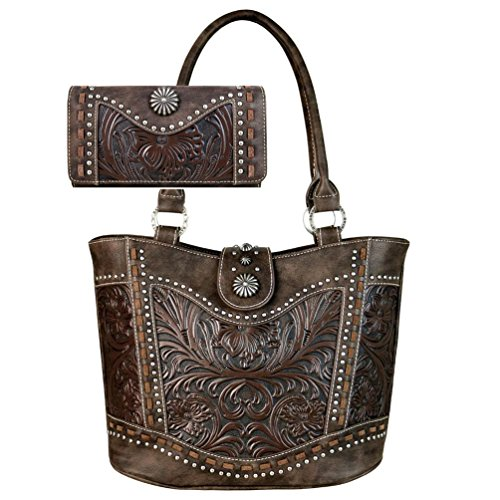 Women's Fashion Trinity Ranch Handbag Wallet Set by Montana West Western Tooled Partial Leather Tote Purses TR59-8005 (Coffee) (Tooled Western Purse)