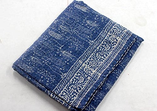 INDIAN SPARROW Natural Blue Indigo Hand Block Print Indian Cotton Kantha Quilt,Handmade Kantha Stitched Bed Cover/Blanket fish print