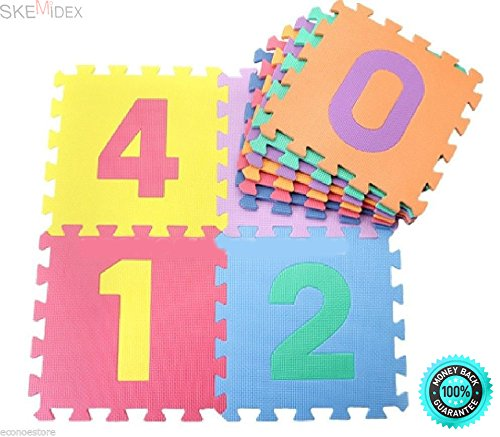 SKEMiDEX---10pcs Infant Kid's Learning Number Puzzle Safety Foam 123 Mat Floor Play Mats. Large and colorful puzzle interlocking mat for learning developmental skills or playtime