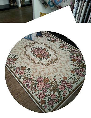 (Lady Night Fashion Anti-Skid Jacquard Carpet for Living Room/Dining Bedroom Mat Floral Modern Pattern Absorbent Non-Slip Modern Carpet Mug,Cream,160Cmx230Cm)