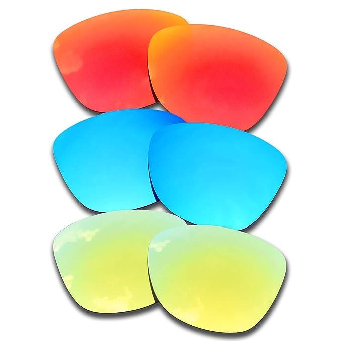 SOODASE Para Oakley Frogskins Gafas de sol Rojo/Azul/Dorado Lentes ...