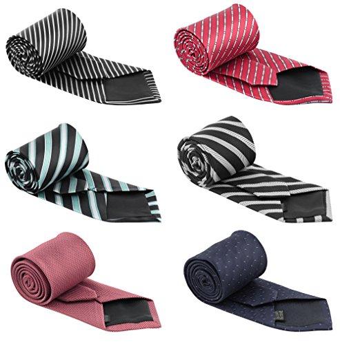 Set of 6 Elegant Neck Ties Mens Business Solid, Woven, Stripes Necktie Tie Mixed Set