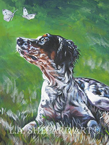 A English Setter dog art portrait print of an LA Shepard painting 12x16