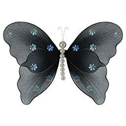 The Butterfly Grove Isabella Pearl Butterfly Decoration 3D Hanging Mesh Organza Nylon Decor, Plumeria White, Medium, 11\
