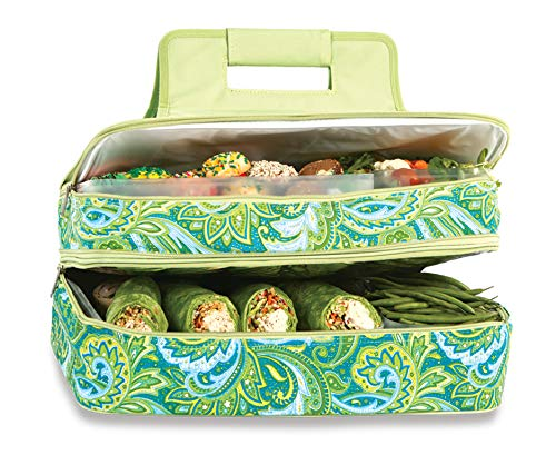 "Picnic Plus 18"" Casserole Carrier 2 Level Thermal Insulated Hot and Cold Food Carrier Double Layer Food Carrier Bag Potluck Carrier With Bonus Containers (Green Paisley) ()"