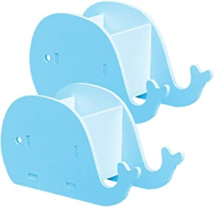 2 Pcs Whale-Shape Desk Pencil Pen Holder, FineGood Wood Plastic Board Stationery Multifunctional Organizer with Cell Phone Stand for Office Adults Kids - Blue