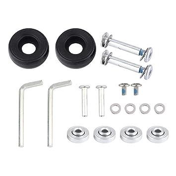 Dilwe 1 par de ruedas universales de goma para maleta con tornillos, llave, ejes de rodamiento de reparación OD 45 mm: Amazon.es: Deportes y aire libre