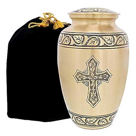 Bronze Cross Beautiful Small Mini Keepsake Urn for Human Ashes with Velvet Case and 4 Pouches Trupoint Memorials Set of 4
