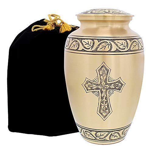 - Beloved and Inspiring Engraved Bronze Adult Cremation Urn for Human Ashes - A Warm and Lovely Large Urn with a Hand Crafted Classy Finish to Honor Your Loved One - with Velvet Bag