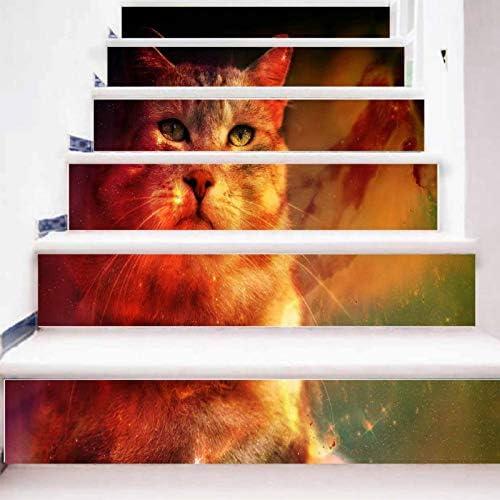 XIAOMAN Pegatinas de Escalera 6 Unidades Gato 3D calcomanía autoadhesiva extraíble DIY Arte Pegatinas para escaleras 18 * 100 cm (Color : 1, Size : 18 * 100cm*6): Amazon.es: Hogar