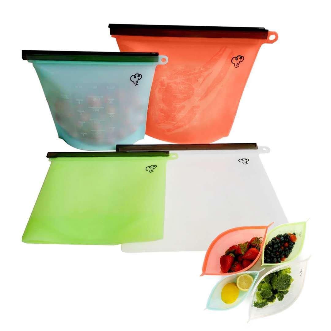 Juego de 4 bolsas de silicona para alimentos, coloridas y ...