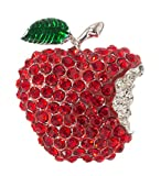 Apple Teacher Brooch Pin 1.50'' with Crystal Accents