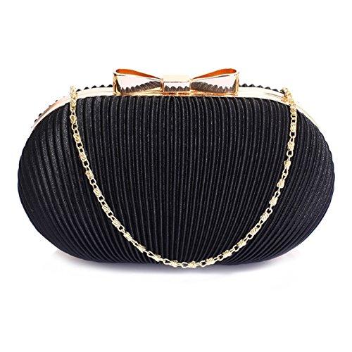 LeahWard Kleine Clutch-Tasche für Frauen Hochzeit Geldbörse Qualität Abendtasche Party Braut 092 (ROT) SCHWARZ SATIN-TASCHE