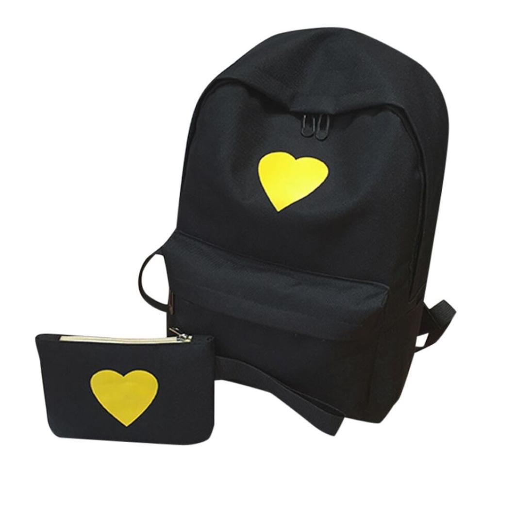 Travel Backpack ,Creazy Women Girl Fashion Love Print Preppy Style School Bag Travel Backpack Bag+Wallet (Black)