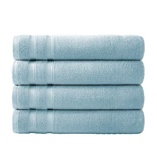 Southshore Fine Linens Classic Combed Cotton 650 GSM Soft and Luxury Set of 4 Bath Towels, Light Blue (Light Bath Fine)