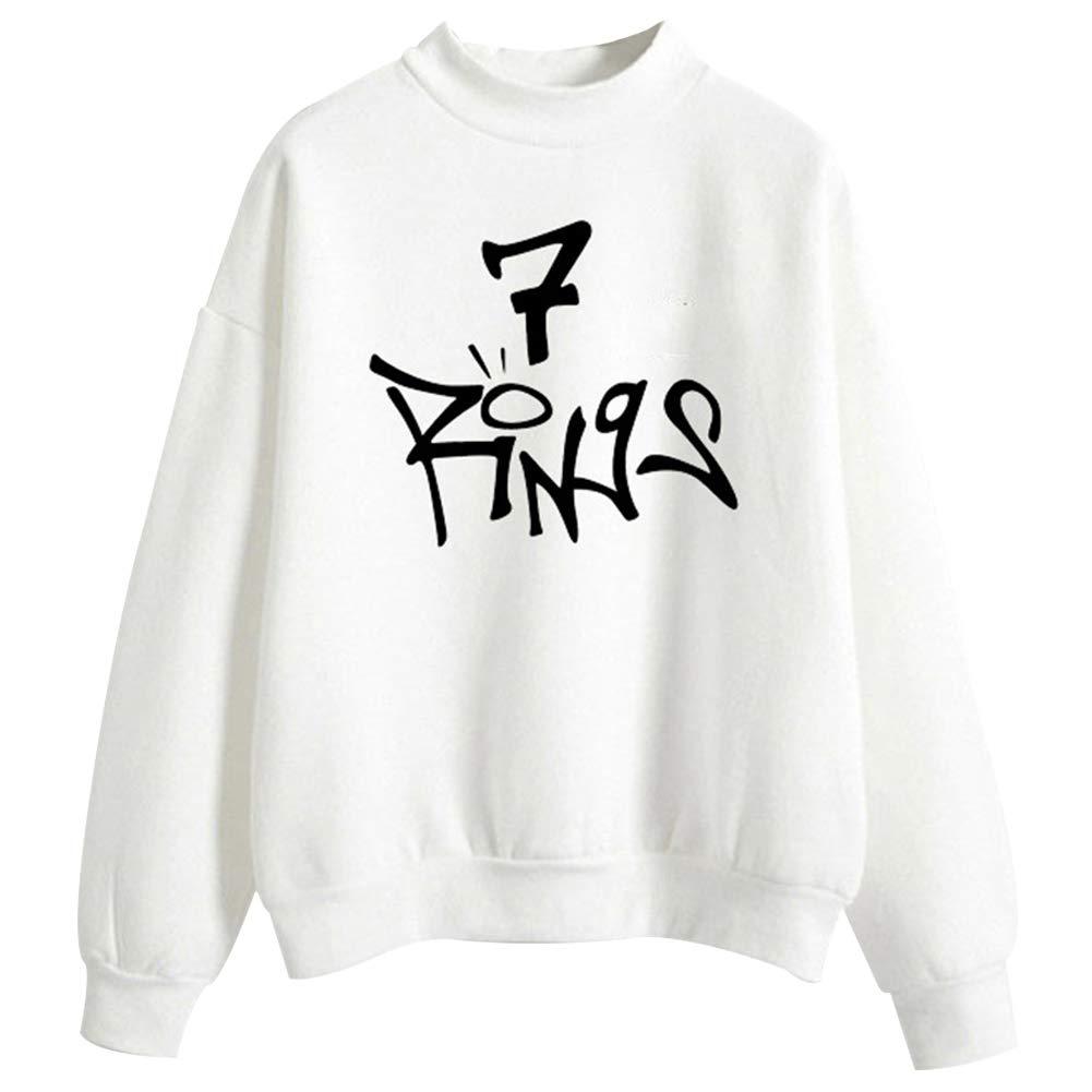 918coshiert Femmes Mode Ariana Grande 7 Rings Sweatshirt Music Fans Des V/êtements D/écontract/és Sweatshirt Pullover Manches longues Tops