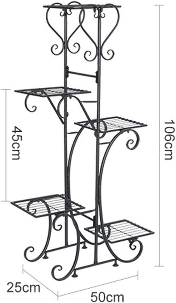 50 x 25 x 106cm 5 Ripiani Scaffale Porta Fiori Fioriera Decorativa per Giardino da Interno e Esterno TONGJI Portavasi in Ferro da Interno