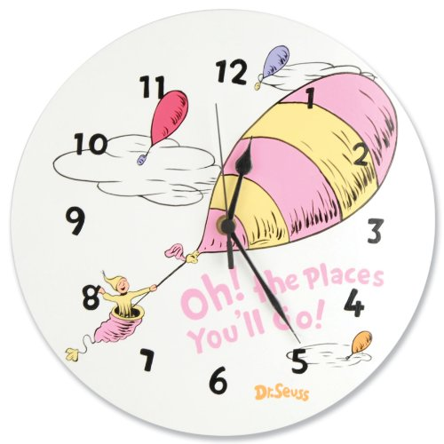 Clock Gift Wall Hot (Trend Lab Dr.Seuss Wall Clock, Oh! The Places You'll Go Pink)