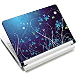 15 15.6 inch Laptop Notebook Vinyl Skin Sticker Protector Cover Art Decal for Apple MacBook Pro 15/New Macbook Pro Retina/HP Pavilion ENVY 15/HP Pavilion dv6 g6 series/Dell inspiron/Sony VAIO/Samsung ATIV Book/Acer Aspire/LENOVO ideapad IBM/Toshiba Satellite(Included 2 Wrist Pad) - Blue Flower