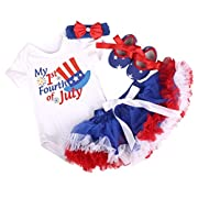 Amberetech 1st 4th of July Baby Girl Outfit Tutu Dress Party Costume Cotton Short Sleeve 4pcs Clothing Set (6-12months)