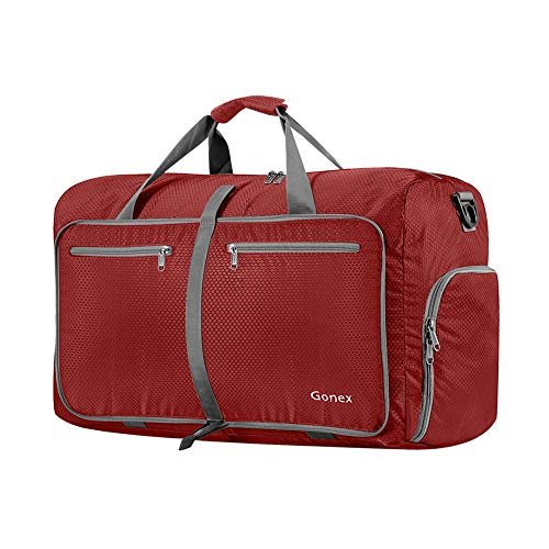 Gonex 40L Packable Travel Duffle Bag for Boarding Airline, Lightweight Gym Duffle Water Repellent & Tear Resistant Red