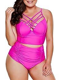 cf1d7812a136d Women's Plus Size Strappy High Waist Bikini Swimsuit M-XXXL