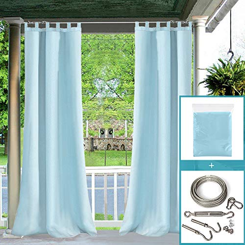 Rods Curtain Diy (Pro Space Outdoor Curtain and Drape 50'' W x96'' L for Pergola/Patio/Porch Waterproof Mildew Resistant Tab Top Blue Curtains with DIY Adjustable Wire Cable Curtain Rod System Set)